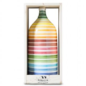 Extra Virgin Olive Oil Jeroboam Rainbow Ceramic Jar (Intense Fruity) 3000ml