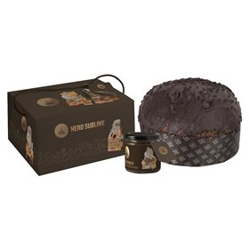 Artisanal Panettone Nero Sublime with Modica Chocolate Cream to Spread 1kg
