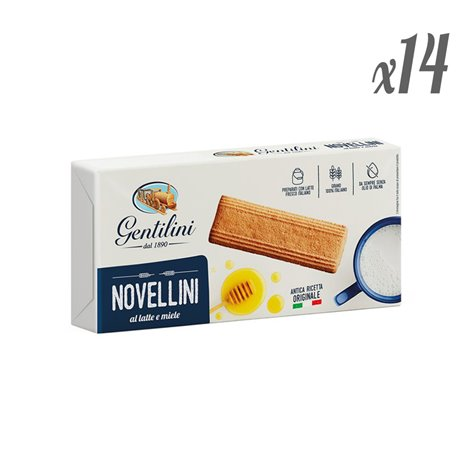 Gentilini Novellini Biscuits with Milk and Honey 250g (Pack de 14 x 250g)