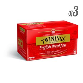 Twinings - Té Negro English Breakfast 25 Sobres (Pack de 3)