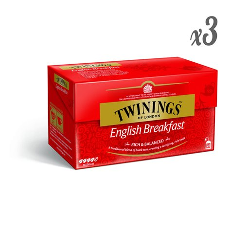 Twinings English Breakfast Tea 25 Tea Bags (pack of 3)
