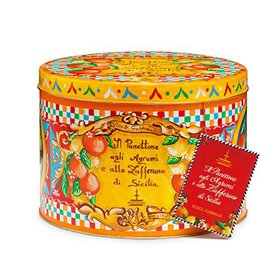Fiasconaro - Dolce & Gabbana Panettone with Citrus Fruits and Saffron from Sicily (Yellow Tin) 1kg